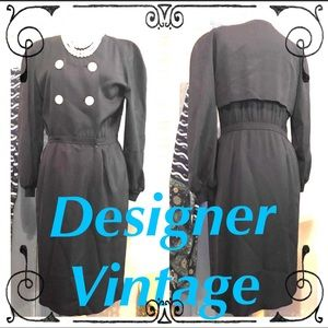 Designer Vintage Valentino Miss V Dress Dark Blue